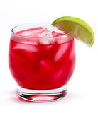 Red cocktail with a lime Royalty Free Stock Image