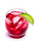Red cocktail with a lime Stock Photography