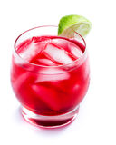 Red cocktail with a lime Stock Photo