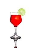 Red cocktail and lime. Red cocktail and lime on white background Stock Image