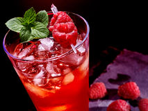 Red cocktail  and mint on dark background Royalty Free Stock Photo