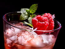 Red cocktail  and mint on dark background Stock Images