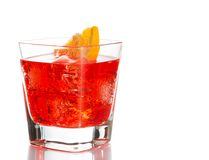 Red cocktail with orange slice isolated on white background Stock Photos