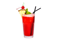 Red cocktail with pineapple and cherry Stock Images