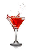 Red cocktail with splash isolated Royalty Free Stock Images