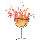 Red cocktail splash watercolor illustration. Stock Photos