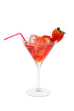 Red cocktail with strawberry royalty free stock photo