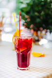 Red cocktail with straws and orange wedge in high glass Royalty Free Stock Photo