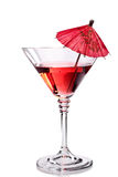 Red cocktail with umbrella Royalty Free Stock Image