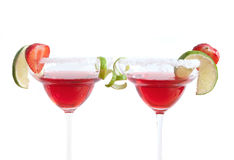 Red cocktails beverages over a white background Stock Image