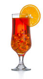 Red coctail drink with ice cubs isolated Stock Photo