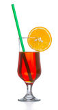 Red coctail drink with ice cubs isolated Royalty Free Stock Photos