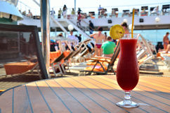 Red coctail on ship Stock Photography