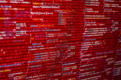 Red code. Warning red code listing  on software developer screen Stock Photo