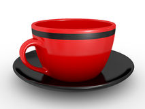 Red coffe cup over white background Stock Images