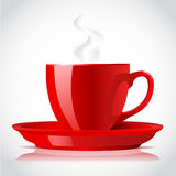 Red coffee cup. On white Stock Photo