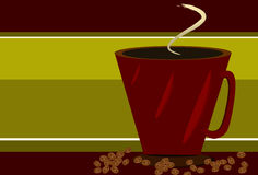 Red Coffee cup and coffee beans. On red and green striped background Stock Photo