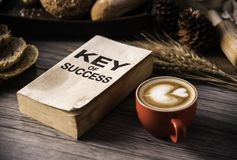 Red coffee cup and concept books for success lay on the wooden f royalty free stock photo