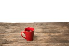 Red coffee cup. Copy space with wood table clean white background Stock Photos