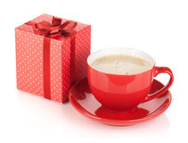 Red coffee cup and gift box with bow Royalty Free Stock Images