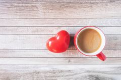 Red coffee cup with heart Valentines Day concept stock photography