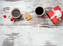 Red Coffee Cup, Hearts Cokies And Gift Box. Stock Images
