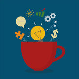 Red coffee cup with light bulb idea business inspiration Stock Photography