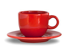 Red coffee cup with plate Royalty Free Stock Photography