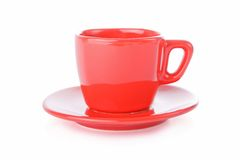 Red coffee cup and saucer Royalty Free Stock Photos