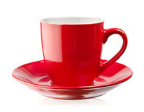 Red coffee cup and saucer Stock Image