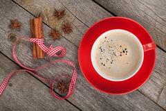 Red coffee cup and spices Stock Photo