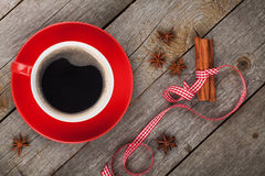 Red coffee cup and spices Stock Images