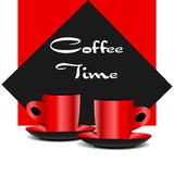 Red coffee cups Stock Images