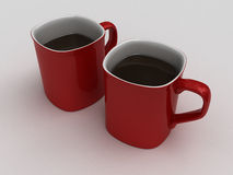 Red Coffee Cups Stock Photo