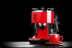 Red coffee machine Stock Images