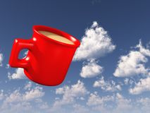 Red Coffee Mug in Sky Stock Photos