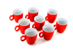 Red coffee mugs royalty free stock image