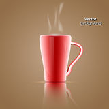 Red coffee mugs On a brown background. Vector red coffee mugs On a brown background Stock Photos