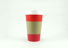 Red coffee paper cup with copy space for text Royalty Free Stock Images