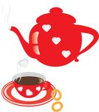 Red coffee pot and cup Stock Image