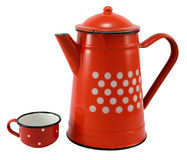 Red coffee pot with cup Royalty Free Stock Photography