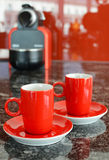 Red coffee set. And coffee maker Royalty Free Stock Photo