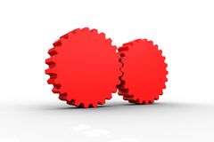 Red cog and wheel connecting Royalty Free Stock Photography