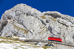 Red Cogwheel Train At Pilatus, Stock Photo