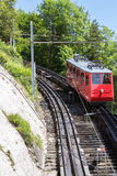 Red cogwheel train in, Lucerne,  Switzerland Stock Images