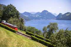 Red cogwheel train in, Lucerne,  Switzerland Royalty Free Stock Photography