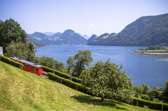 Red cogwheel train in, Lucerne,  Switzerland Stock Photos