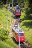 Red cogwheel train in, Lucerne,  Switzerland Stock Photo