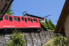 Red cogwheel train in, Lucerne,  Switzerland Royalty Free Stock Images