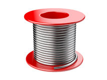 Red coil with wire. 3d illustration on a white background Royalty Free Stock Photo